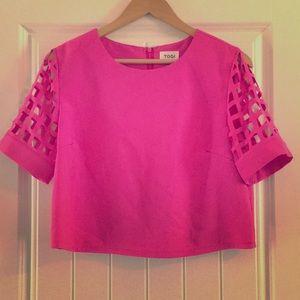 Tobi Pink Short Sleeve Crop Top